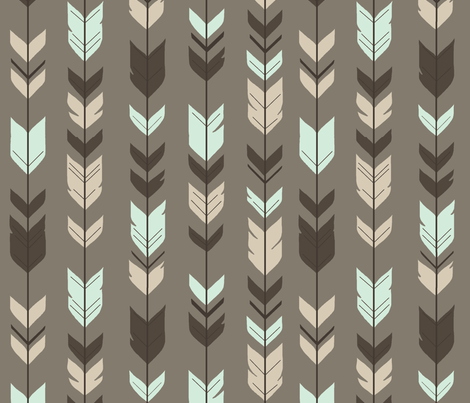 Arrow Feather-taupe/brown/mint/cream fabric by sugarpinedesign on Spoonflower - custom fabric