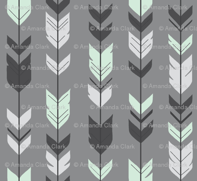 Arrow Feather - grey/mint