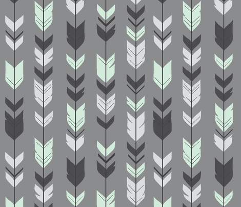 Arrow Feather - grey/mint fabric by sugarpinedesign on Spoonflower - custom fabric
