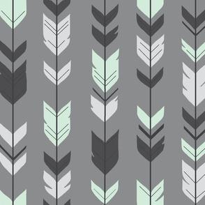 Arrow Feather - grey/mint