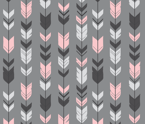 Arrow Feathers - pink on grey background fabric ...