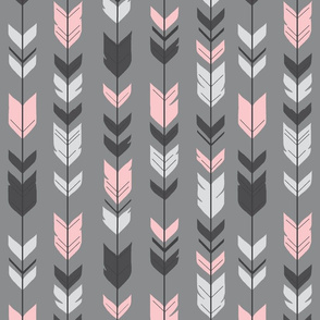 Arrow Feathers - pink on grey background