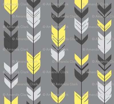 Arrow Feather- bright yellow Grey/Sunshine