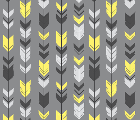 Arrow Feather- bright yellow Grey/Sunshine fabric by sugarpinedesign on Spoonflower - custom fabric