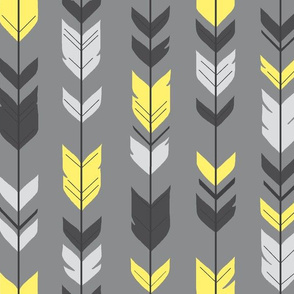Arrow Feather- bright yellow Grey/Sunshine