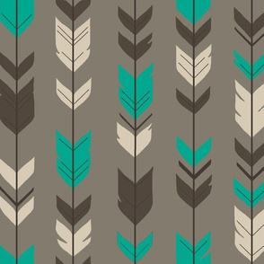 Arrow Fwathers- taupe/teal