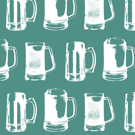 Beer Mugs on Turquoise // Large fabric by thinlinetextiles on Spoonflower - custom fabric