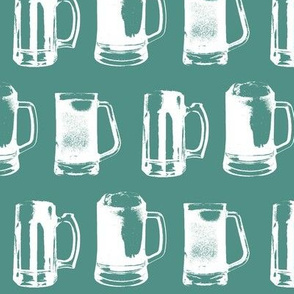 Beer Mugs on Turquoise // Large