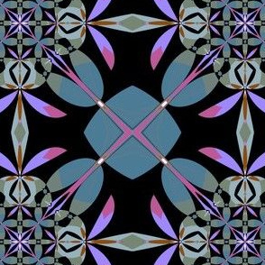 Slate Pink Black Kaleidoscope Flowers