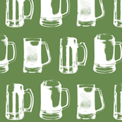 Beer Mugs on Green - Large