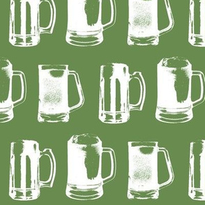 Beer Mugs on Green // Large