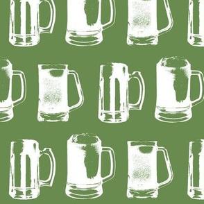 Beer Mugs on Green // Large