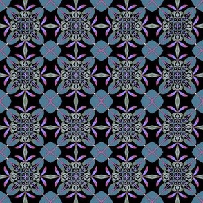 Slate Pink Black Kaleidoscope Flowers Small