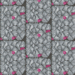 black and grey woven flowers