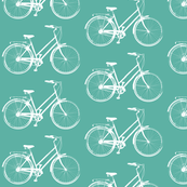 Bicycles on Aqua Blue - Medium