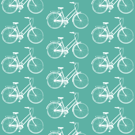 Retro Bicycles // Aqua fabric by thinlinetextiles on Spoonflower - custom fabric