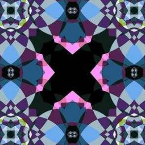 Pink and Blue Kaleidoscope Quatrefoil Large