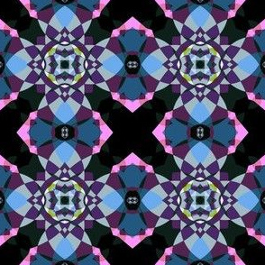 Pink and Blue Kaleidoscope Quatrefoil Small