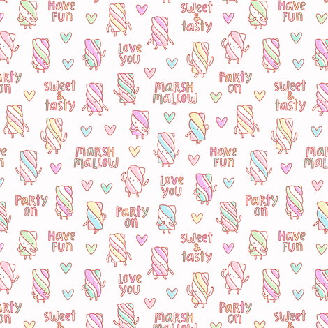 Funny marshmallow fabric by stolenpencil on Spoonflower - custom fabric