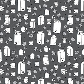 Milk and cookies cool cups and carton box school kids illustration print gender neutral gray