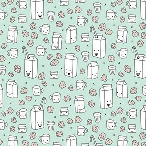 Milk and cookies cool cups and carton box school kids illustration print gender neutral mint
