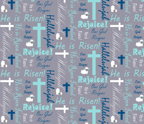 He is risen blues fabric by pamelachi on Spoonflower - custom fabric