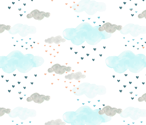 It's raining love fabric by mintpeony on Spoonflower - custom fabric