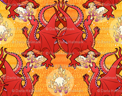 Fire breathing dragon, red