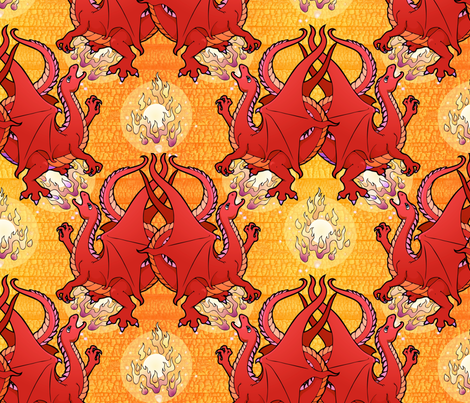 Fire breathing dragon, red fabric by hannafate on Spoonflower - custom fabric