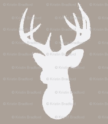 Deer Silhouette in White on Taupe