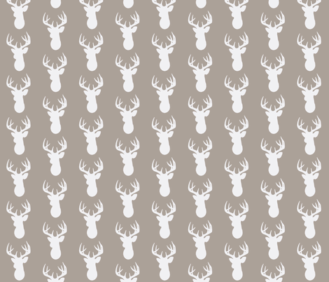 Deer Silhouette in White on Taupe fabric by kbexquisites on Spoonflower - custom fabric