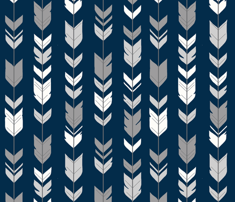 Arrow Feather-navy/greys fabric by sugarpinedesign on Spoonflower - custom fabric