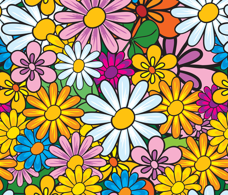 Flower Power fabric by puggy_bubbles on Spoonflower - custom fabric