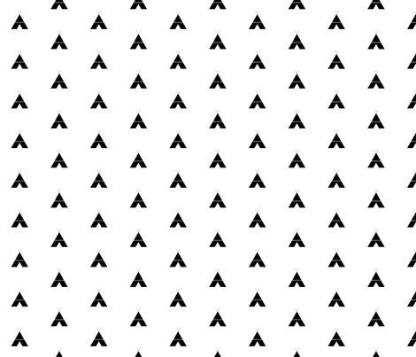 Black and white teepee fabric by lilcleo on Spoonflower - custom fabric
