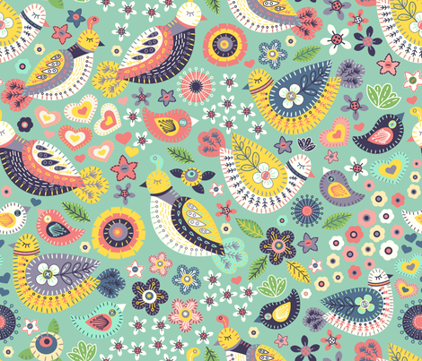 Hello birdy fabric by fizah_malik on Spoonflower - custom fabric