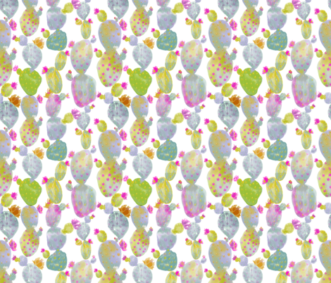 Watercolor Cacti fabric by gypseeart on Spoonflower - custom fabric