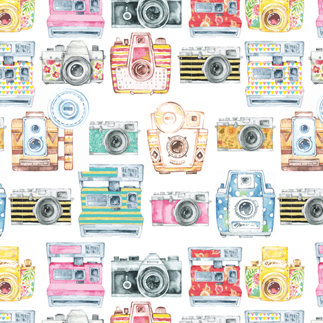 Watercolor Cameras - Large Scale fabric by gypseeart on Spoonflower - custom fabric