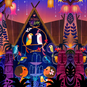 Tiki Bird Hut repeat print