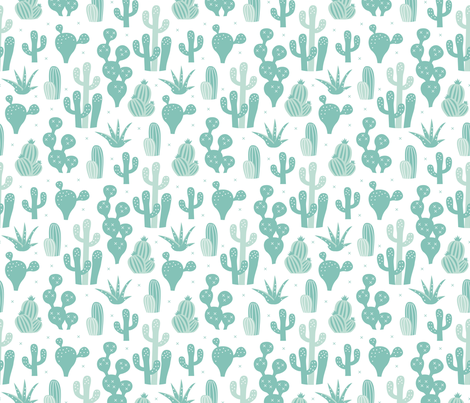 Cactus garden and succulent cacti plants for summer cool scandinavian style gender neutral mint fabric by littlesmilemakers on Spoonflower - custom fabric