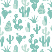 Cactus garden and succulent cacti plants for summer cool scandinavian style gender neutral mint
