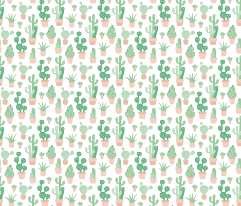 Cactus garden and succulent cacti plants for summer cool scandinavian style gender neutral green fabric by littlesmilemakers on Spoonflower - custom fabric