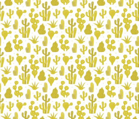 Cactus garden and succulent cacti plants for summer cool scandinavian style gender neutral mustard yellow fabric by littlesmilemakers on Spoonflower - custom fabric