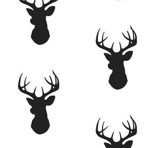 Stag Head - black and white - deer Buck and antlers
