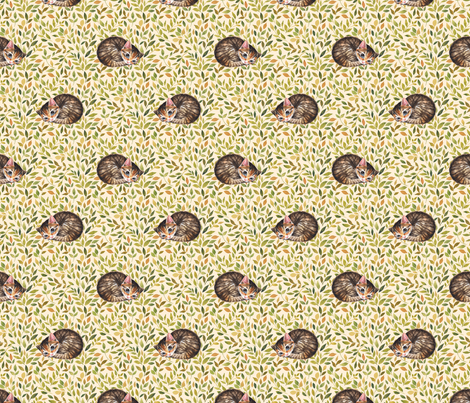 Sleepy cat fabric by gribanessa on Spoonflower - custom fabric