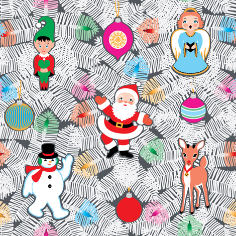 White Christmas Tree fabric by amyperrotti on Spoonflower - custom fabric