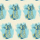 meow machine - blue/yellow