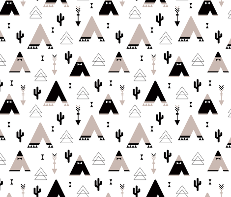 Geometric indian summer cactus teepee and arrows triangle illustration gender neutral fabric by littlesmilemakers on Spoonflower - custom fabric