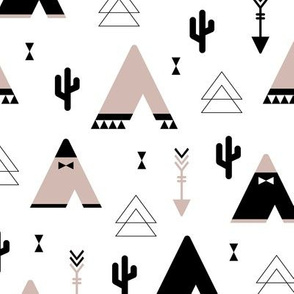 Geometric indian summer cactus teepee and arrows triangle illustration gender neutral