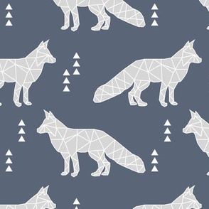 geometric fox // dark blue