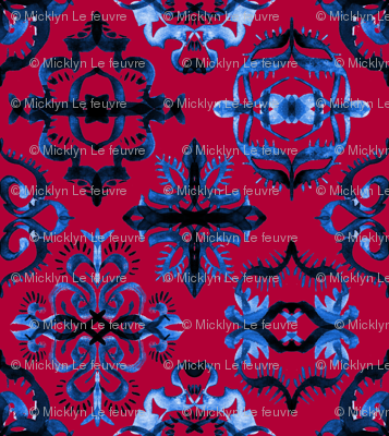 Persian Calligraphy Tile Pattern in Deep Red and Blue